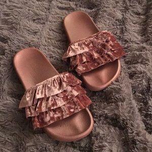 Shoes - Pink Velvet slides 7 8 ruffle dusty rose quartz